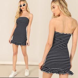 Ruffle Hem Striped Bandeau Dress